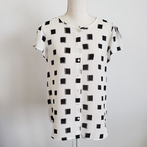 Ann Taylor Factory White with Black Squares Top